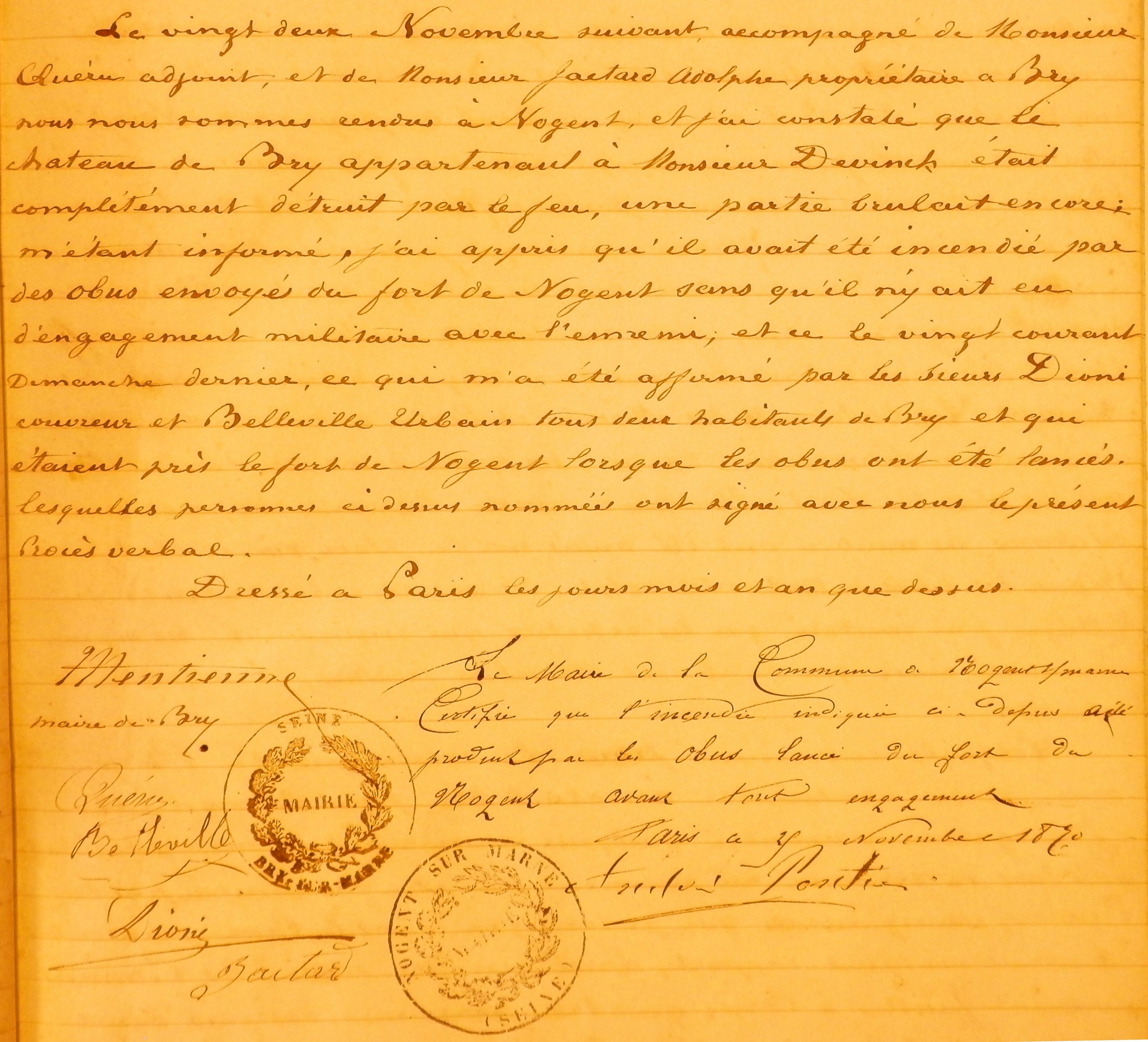 Document 2 (12 novembre 1870).